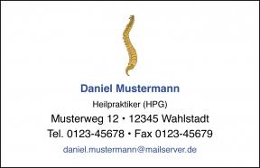 250 Visitenkarten mit Logo Wirbelsäule (mit Ihrer Gestaltung)