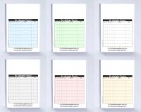 6.000 Terminzettel DIN A7, Bunt gemischt (6x16 Blöcke in 6 Farben)