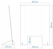 Spuckschutz 60 x 90 cm Niesschutz Hustenschutz Thekenaufsatz Acrylglas